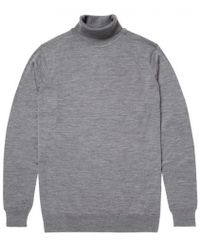 Sunspel - Men's Fine Merino Wool Roll Neck Jumper In Mid Grey Melange - Lyst
