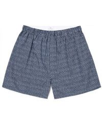 Sunspel - Men's Printed Cotton Boxer Shorts In Navy Shibori Squares - Lyst
