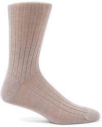 Sunspel - Men's Merino Wool Rib Socks In Oatmeal Melange - Lyst