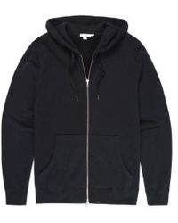Sunspel - Men's Cotton Loopback Zip Hoody In Black - Lyst