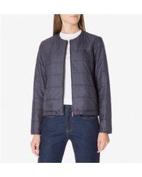 Sunspel - Women's X Lavenham Collarless Quilted Jacket In Light Navy - Lyst