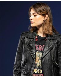 Superdry - Kiki Leather Biker Jacket - Lyst
