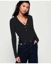 Superdry - Lola Buttoned Vee Knit - Lyst