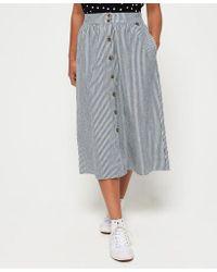 5af79b2326 Superdry A-line Midi Cord Skirt in Black - Lyst