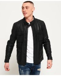 Superdry - Leather Rotor Jacket - Lyst