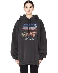 Balenciaga - Paris Oversized Washed Cotton Hoodie - Lyst