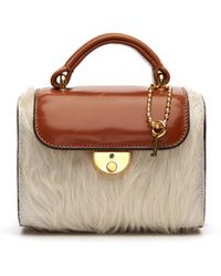 Maison Margiela - Bauletto Fur Trimmed Leather Bag - Lyst