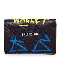Balenciaga - Black Papier Mini Graffiti Wallet - Lyst