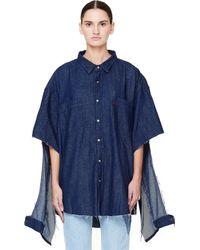Vetements - Oversized Denim Shirt With Cuts - Lyst