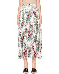 Junya Watanabe - Flower Printed Beige Pleated Skirt - Lyst