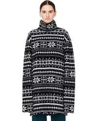 Vetements Oversized Wool Blend Snowflake Knit Sweater
