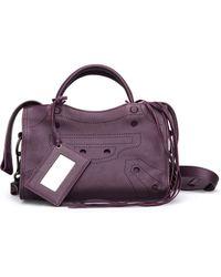 Balenciaga - Blackout City S Purple Leather Handbag - Lyst
