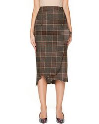 Vetements - Distressed Checked Wool Wrap Skirt - Lyst