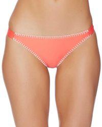 Splendid - Stitch Solid Tab Side Bikini Bottom Color: Coral Size: M - Lyst