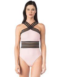 9a12fdeb030 Kenneth Cole Stompin' In Stilettos High-neck Illusion-stripe Bikini Top in  Black - Lyst