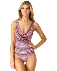 Anne Cole - Stevie Stripe Keyhole Plunge One Piece Swimsuit - Lyst