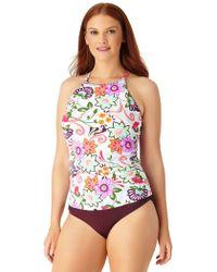 Anne Cole - Plus Size Fleetwood Floral High Neck Tankini Swim Top - Lyst