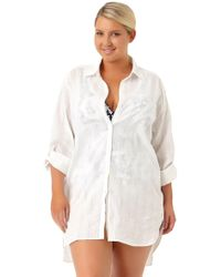5c6d48717d241 Anne Cole - Size Live In Color New Boyfriend Shirt Swim Cover Up - Lyst