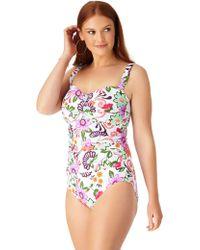 Anne Cole - Plus Size Fleetwood Floral Twist Front Shirred Bandeau One Piece Swimsuit - Lyst