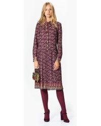 Roman - Colorful Print Purple Midi Dress - Lyst