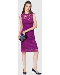 Roman - Lace Fuchsia Dress - Lyst