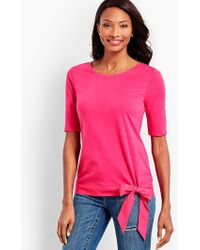 Talbots - Elbow-sleeve Tee With Striped Hem And Bow - Lyst