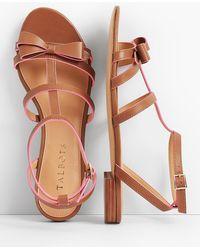 Talbots - Keri Bow Vachetta Leather Sandals - Lyst