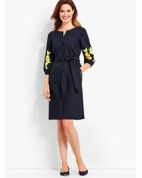 Talbots - Embroidered Sleeve Poplin Shift Dress - Lyst