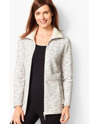 Talbots - Fleece-trim Quilted Jacquard Jacket - Lyst