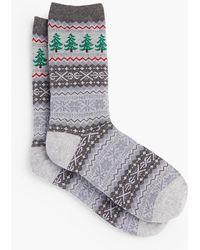 Talbots - Christmas Tree Fair Isle Socks - Lyst
