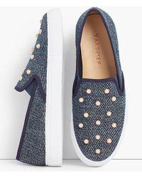 Talbots - Pearl Embellished Denim Sneakers - Lyst