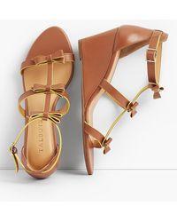 Talbots - Royce Bow Wedge Sandals - Vachetta Leather - Lyst
