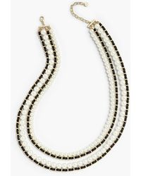 Talbots - Ribbon And Pearls Layered Necklace - Lyst