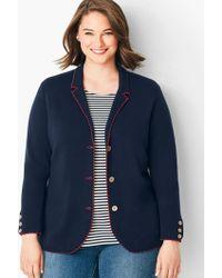 f80d7c85a2612 J.Crew Merino Wool Sweater-blazer With Striped Lining in Blue - Lyst