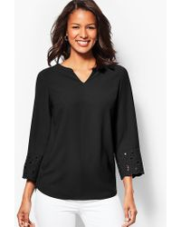 Talbots - Embroidered-sleeve Tunic Top - Lyst