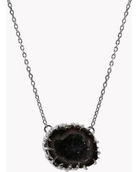 Tateossian - Geode Short Silver Necklace In Grey - Lyst