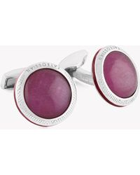 Tateossian - Signature Doublet Round Silver Cufflinks - Ruby (limited Edition) - Lyst