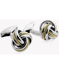 Tateossian - Knot Twisted Royal Cable Cufflinks In Silver And 18k Yellow Gold - Lyst