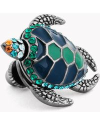 Tateossian Swarovski Turtle Lapel Pin, Blue