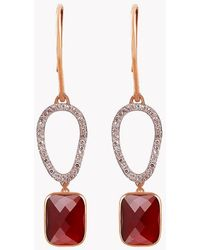 Tateossian | 14k Rose Gold Chelsea Earrings With Garnet & White Diamonds | Lyst