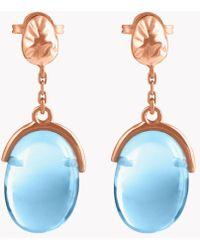 Tateossian - 18k Rose Gold Mayfair Short Earrings With Blue Topaz - Lyst