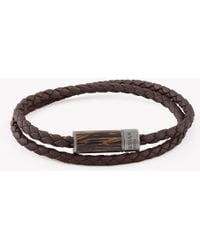 Tateossian - Montecarlo Bracelet In Dark Brown Leather And Wooden Clasp - Lyst