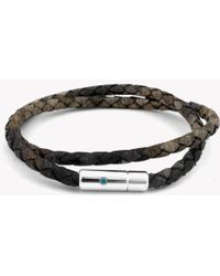 Tateossian - Pop Print Scoubidou Silver Bracelet In Brown - Lyst