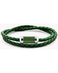 Tateossian - Montecarlo Bracelet In Green Leather With Silver And Enamel Clasp - Lyst