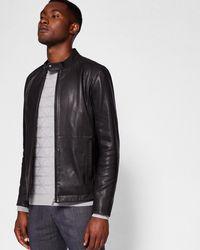 Ted Baker - Leather Biker Jacket - Lyst