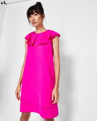 b525bfbe7bab Ted Baker Jineen Contrast Panel Silk Dress in Pink - Lyst
