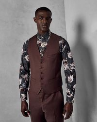 Ted Baker - Slim Fit Plain Wool Vest - Lyst