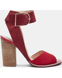 Ted Baker - Suede Stripe Heel Detail Sandals - Lyst
