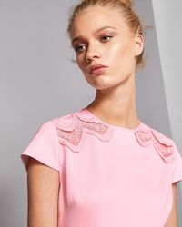 44f321c8928 Ted Baker Women s Emalise V-neck Embroidered Skater Dress in Pink - Lyst