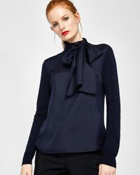 Ted Baker - Tie Neck Jumper - Lyst